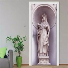 2Pcs/Set 3D Carved Goddess Portrait 3D Wall Door Sticker Self-adhesive Waterproof Wallpaper Decals Home Decor Door Wall Sticker