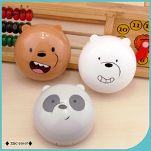 Lymouko New Design Cartoon Cute Round Milk Bear Portable Contact Lenses Case Kit Women Lens Container Box