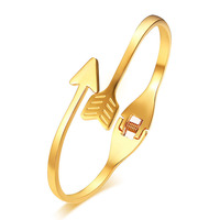 Gold Plating Ladies Arrow Open Stainless Steel Bangles Bracelet Cuff Adjustable Women Bracelet Romantic Girlfriend Gifts Jewelry