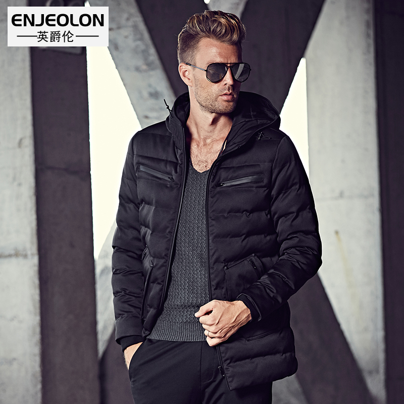 Enjeolon Brand Cotton Padded Hooded Jacket Men windproof,Parka Men Clothing Zipper Thick Quilted black Coat Mens Hoodies WT0227 winter jacket men 2016 brand parka plus size men s hooded parka zipper quilted coat casual jackets