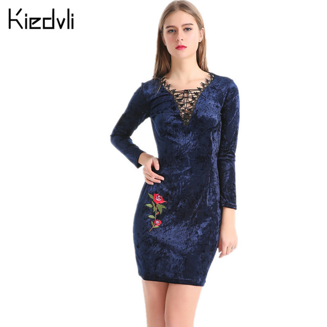 4f8aec7119 Lace Embroidered Velvet Women Mini Bodycon Dress Sexy Club Long Sleeve Navy  Blue Bodycon One-