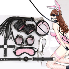 SM Tool BDSM 8 pieces / set of underwear sex binding set hand rubbing foot whip rope eye mask fun couple game SM Sex Product