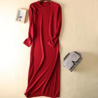 New Women long sweater dress Cashmere Elastic Knitted Dress vestidos