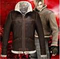 Новый Resident Evil Леон Кеннеди Косплей Молния Куртка Пальто Стоять Воротник Кожа