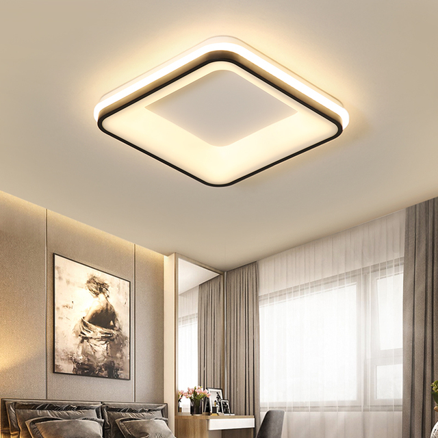 NEO Gleam Black+White Finished Modern led Ceiling lights for bedroom study room living room Square/Round Ceiling lamp Fixtures