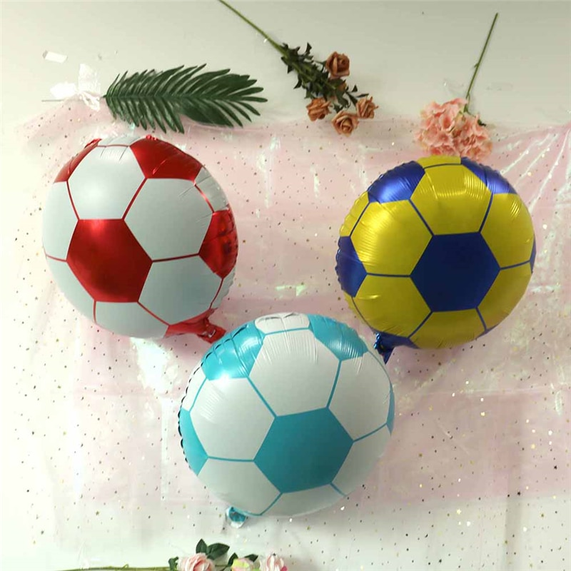 1pc Colorful Football Aluminum Balloon 18 Inch Round Ball Children`s Toys Party Decoration Wholesale Home & Garden