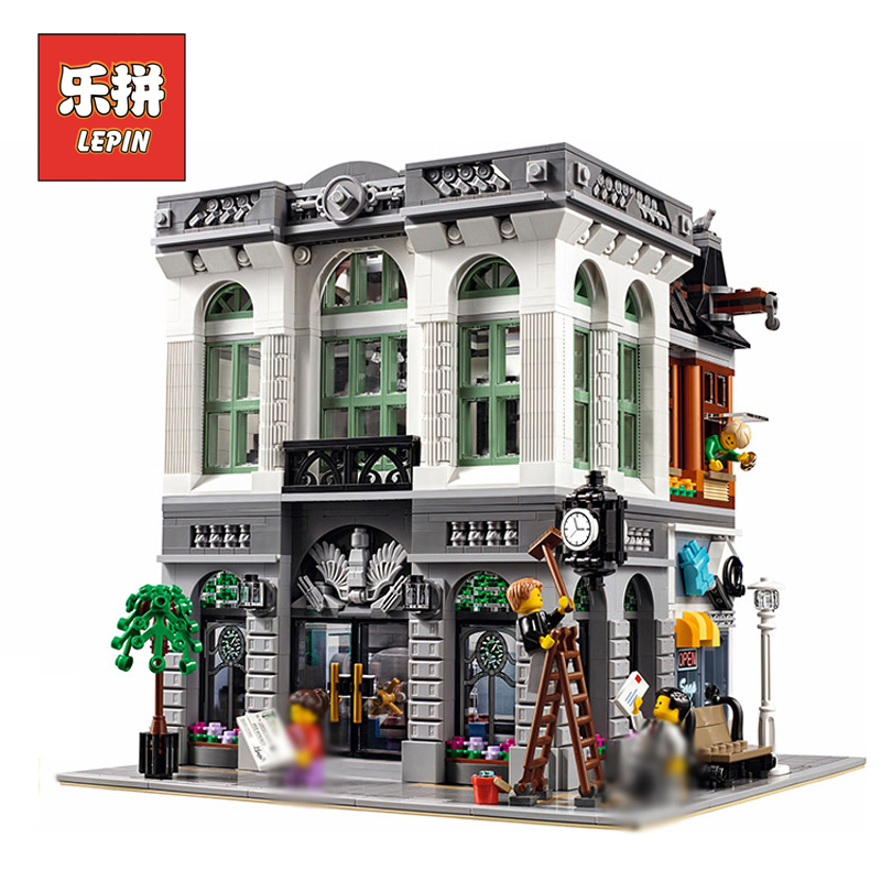 Lepin 15001 City Street View Series Brick Bank Set Model Building Blocks Bricks Children Toys Christmas Gift  with 10251 lepin 02012 774pcs city series deepwater exploration vessel children educational building blocks bricks toys model gift 60095