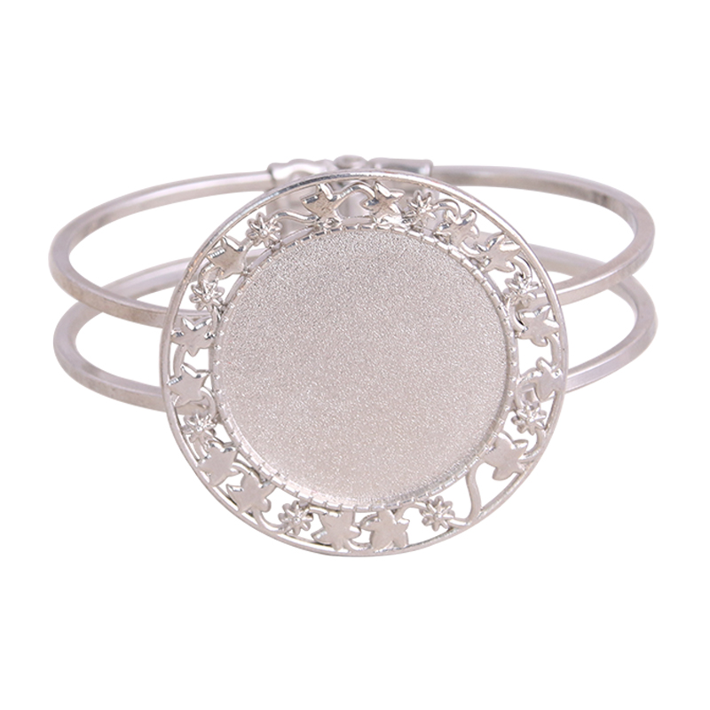 PULCHRITUDE 1pcs/lot 5 Style Silver Plated Bangle Base Bracelet Blank Findings Tray Bezel Setting Round Oval Cabochon Cameo