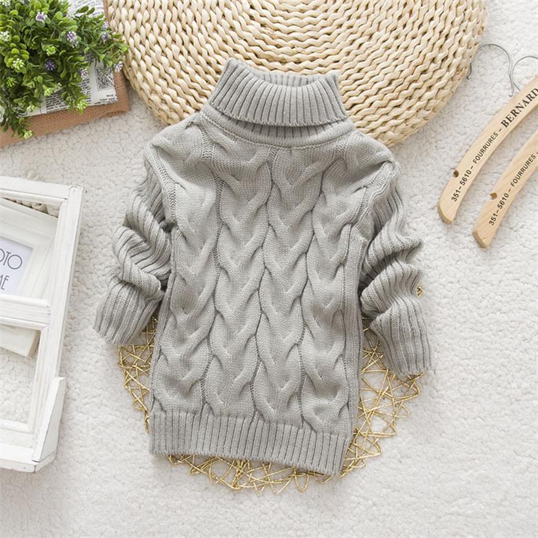 Children Kids Pullover Knitting Turtleneck Warm Baby Boy Girls Sweater Outerwear