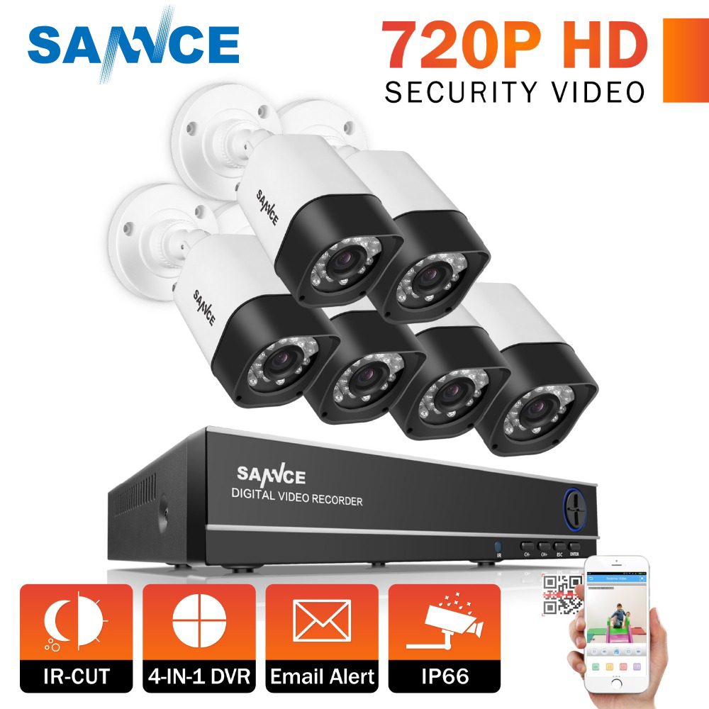 SANNCE 8CH 720P HD CCTV System 4IN1 Video Recorder DVR 6PCS 1200TVL Waterproof Home Security Camera Surveillance Kit цена