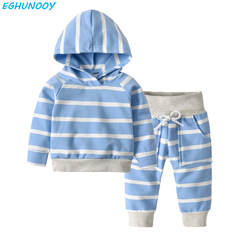 Baby Clothes Set Cotton Newborn Girl Boy Long Sleeve Hooded T-shirt Pants 2 Pcs