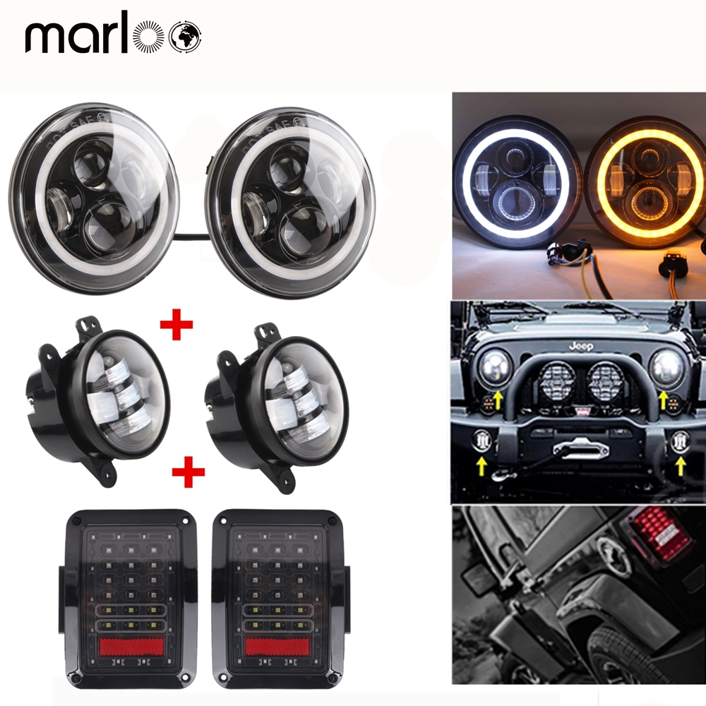 Marloo For Jeep Wrangler JK combo 7 inch LED Headlight Wrangler 4 Fog Lamp JK Tail Light For Jeep 07-17