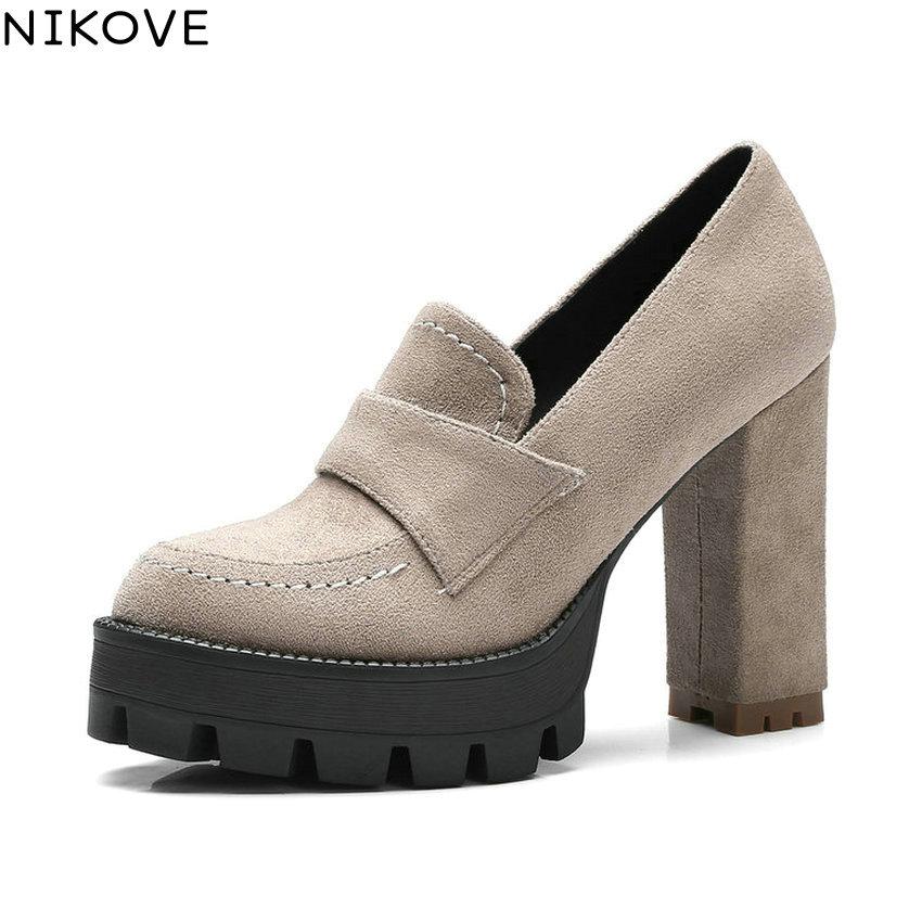 NIKOVE 2018 Platform High Heel Women Pumps Western Style Women's Wedding Shoes Office Ladies Square Heel Pumps Big Size 34-42 2018 office women high heel pumps solid