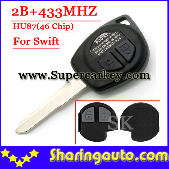 Free shipping 2 Button Remote Key HU87 Blade With ID46 Chip 433MHZ For Suzuki Swift(YY)(1piece) free shipping 2 button remote key hu87 blade with id46 chip 433mhz for suzuki swift yy 1piece