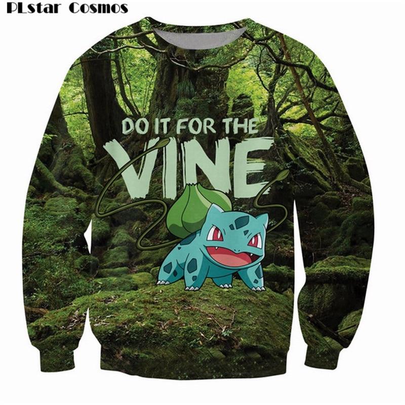 PLstar Cosmos Bulbasaur Sweatshirt Pokemon grass type Do it for the Vine internet meme Jumper Casual Sweats Women/Men Pullover