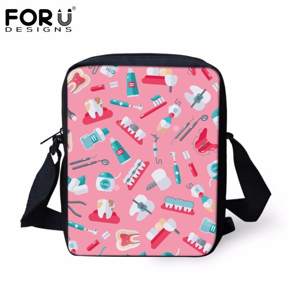 FORUDESIGNS School Bags for Girls Cute Cartoon Dentist Pattern Children Book Shoulder Bags Canvas Kids Bags Small Schoolbags Bag