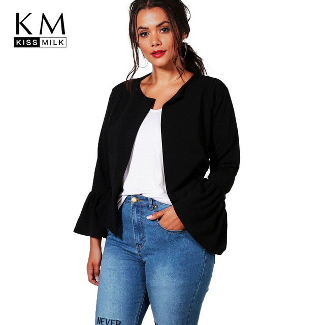 dcbd0a601d97a Kissmilk 2018 plus size multi-color office lady women coat large size  Butterfly Sleeve Open Stitch female big size lady outwear