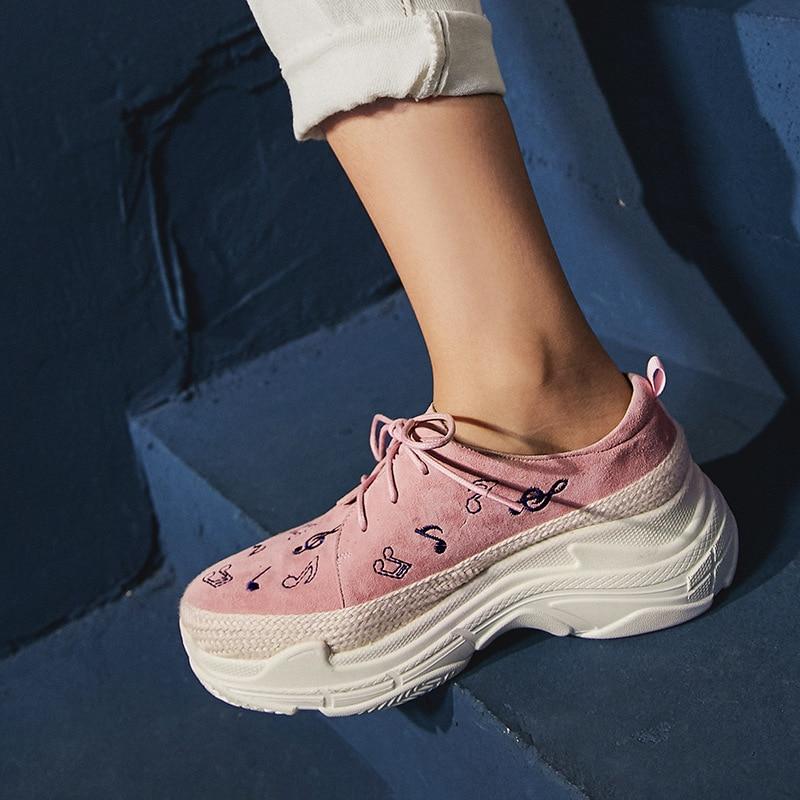 Simple Chaussures Automne Cuir rose 2018 Nouvelle Mode Femmes Vintage En Mocassins Casual Plate Brodé PlatesNoir forme Tendance dChtQrs