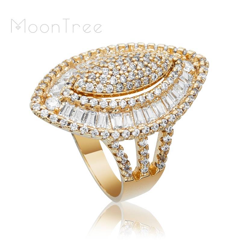 Hochzeit Ring Modeschmuck Verlobung Suche Nach FlüGen Moontree Luxus Olive Super Volle Micro Gepflasterte Cubic Zirkon Braut