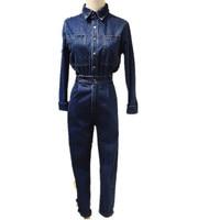 2018 New elegant safari style denim jumpsuit blue jean pants Jumpsuit Bodysuit Women Denim Overalls Rompers