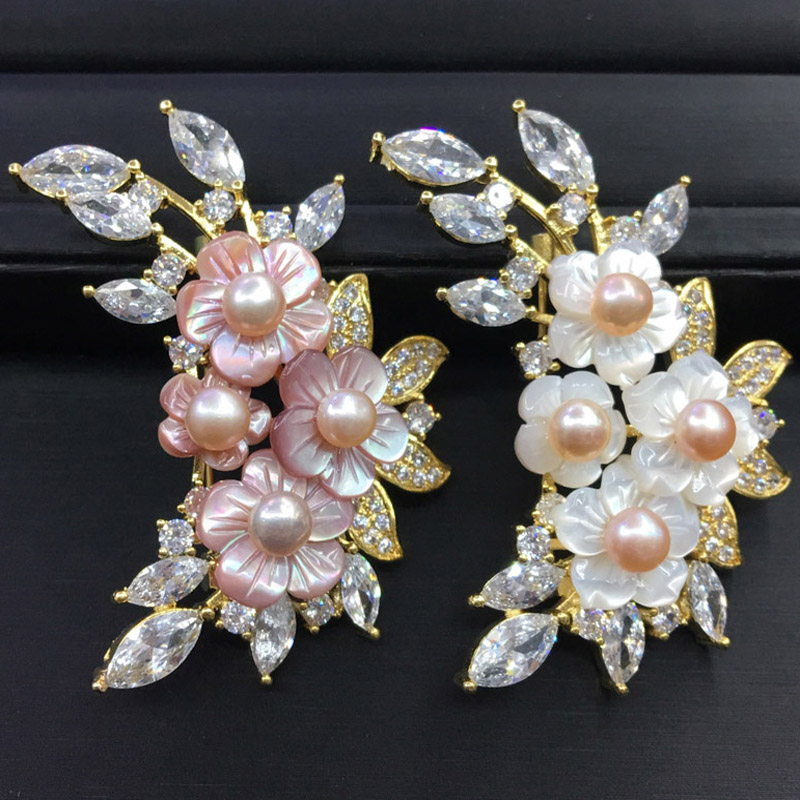 Luxury Natural Shell DIY Flower Brooch Pin Rhinestone Brooches Scarf Accessory Fashionable Jewelry Gift