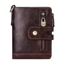 Western Genuine Leather Multifunctional Men Wallet Cow Leather Zipper Hasp Men Purse Gift