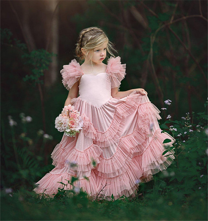 Blush Pink Flower Girl Dresses Tiered Ruffle Tulle Pageant Gowns First Communion Dress Custom Made Any Size ruffle trim tiered cami blouse