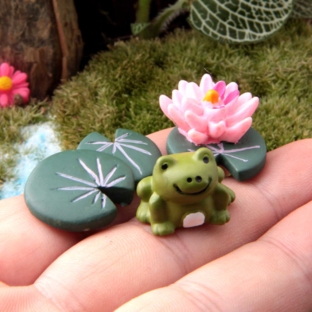 3Pcs/set Garden Leaf Model Micro Landscape Miniature Garden Ornaments Fairy Resin Craft