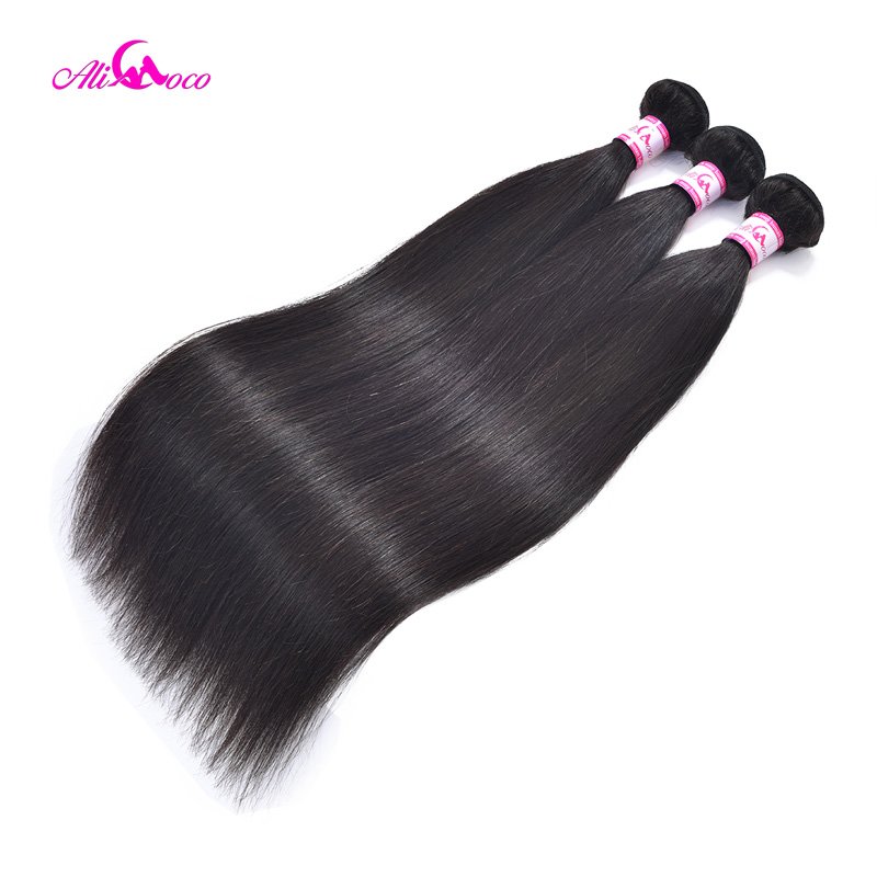 Ali Coco Brazilian Straight Human Hair Bundles With 2*6 Lace Closure Natural Color 8-28 Inch Non-Remy Hair Bundles With Closure