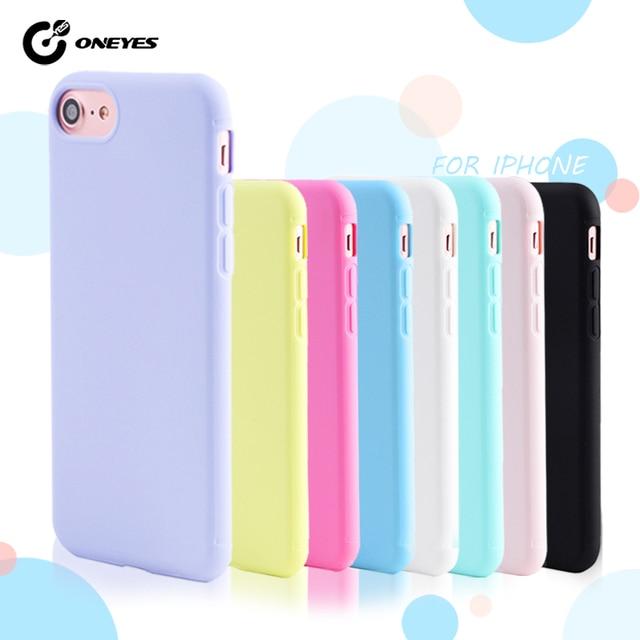 online store 9913b e860f US $1.59 45% OFF|silicone Macaron phone case For iphone 6 6s case 6 Plus 6s  Plus 7 plus mobile phone cover For iphone 5 5s SE rubber phone cases-in ...