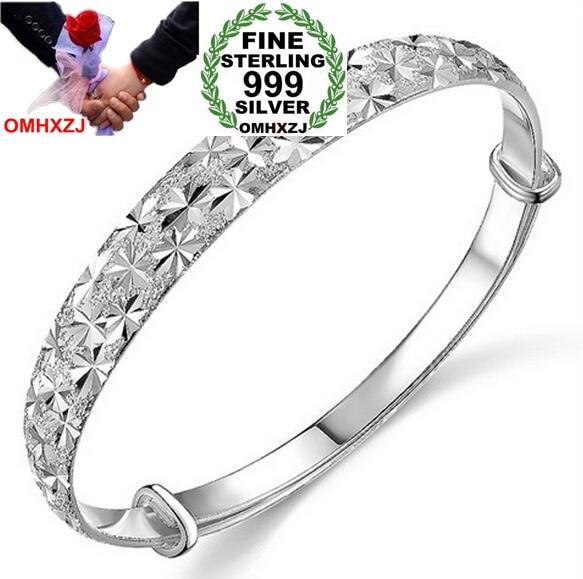 OMHXZJ Wholesale jewelry geometric Babysbreath woman fashion kpop star Fine 999 Sterling Silver adjustable Bangles SZ04