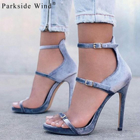 Parkside Wind Buckle Strap High Heels Sandals Women Velvet Cover Heel Shoes Sexy Summer Party Sandalias XWC1350 5