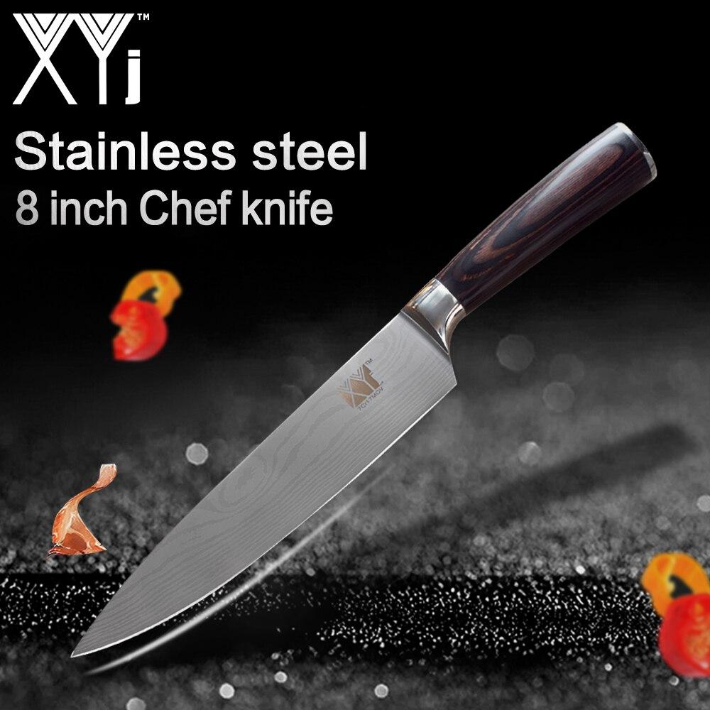 XYj Cuisine Couteaux 8 pouce 7Cr17 Acier Inoxydable Chef Couteau Viande Congelée Coupe Couleur Manche En Bois Ultra-mince Lame cuisson Outils
