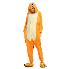 Women/Men Adults pokemon Animal Pajamas Set Small fire dragon Cartoon Winter Unisex Flannel stitch pyjama new rnio Sleepwear