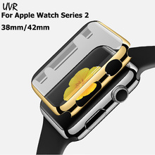 UVR Colorful Ultrathin Gold Electroplate Plating Protective Case Cover For Apple Watch 38mm 42mm Series 2 Shockproof Cases