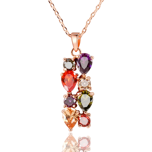 Trendy Color Crystal Jewelry Sets Flower Pendant Necklace Stud Earrings Ring Fashion Jewelry Summer Style Party For Women CS 13