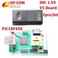 2 шт./лот PIC18F458 CAN BUS OBD2 OP-COM OP COM V1.59 V5 доска V5 диагностический инструмент для opel OPCOM op-com с бесплатной Доставкой