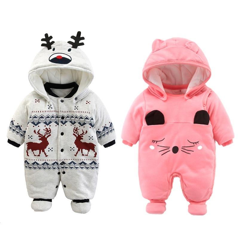 2019 Pasgeboren Rompertjes Winter katoen Dikke Warme Baby boy meisje Kleding baby Lange Mouwen Hooded Jumpsuit Kids Uitloper voor 0 -24M 1