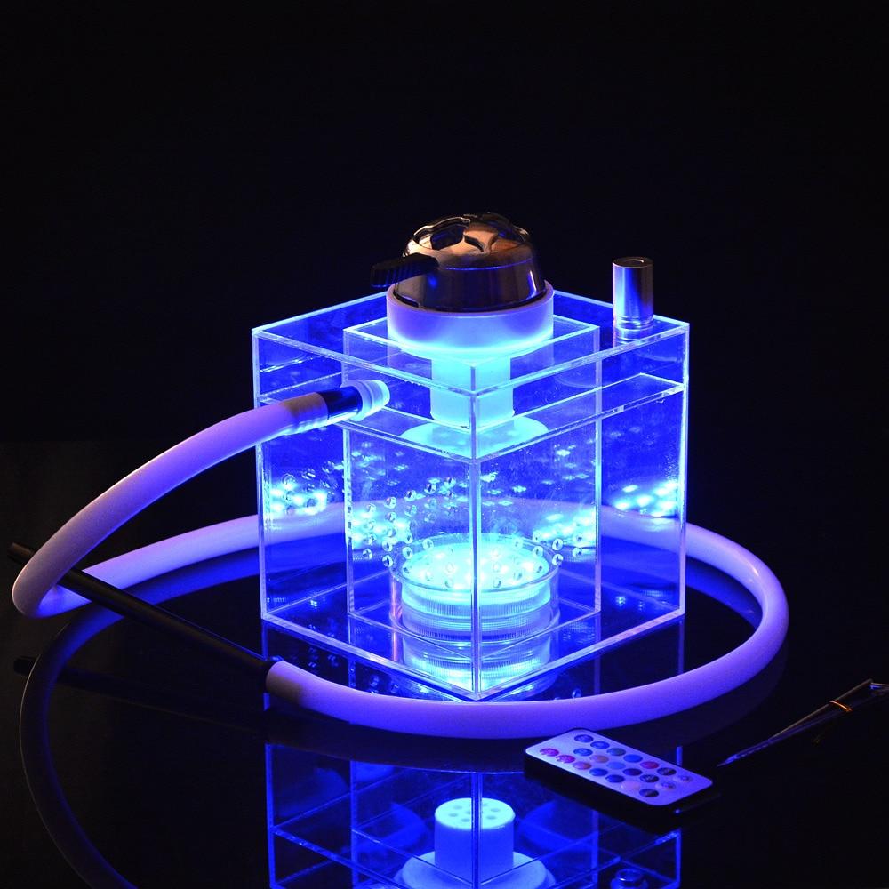 LED Light Acrylic Hookah Shisha Pipe Nargile Bowl Hose Spring Charcoal Tongs Chicha Bar Club Narguile Accessories Party Gift