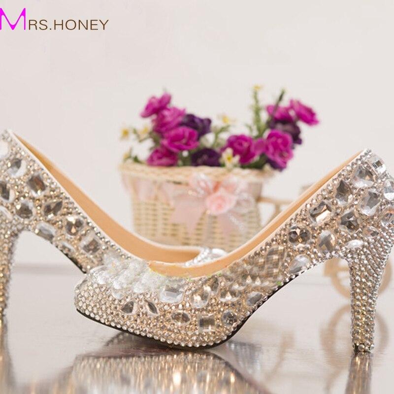 ФОТО Silver Rhinestone Middle Heel Wedding Shoes Sapatos Femininos Women Party Prom Shoes Valentine Crystal Pumps Bridesmaid Shoes