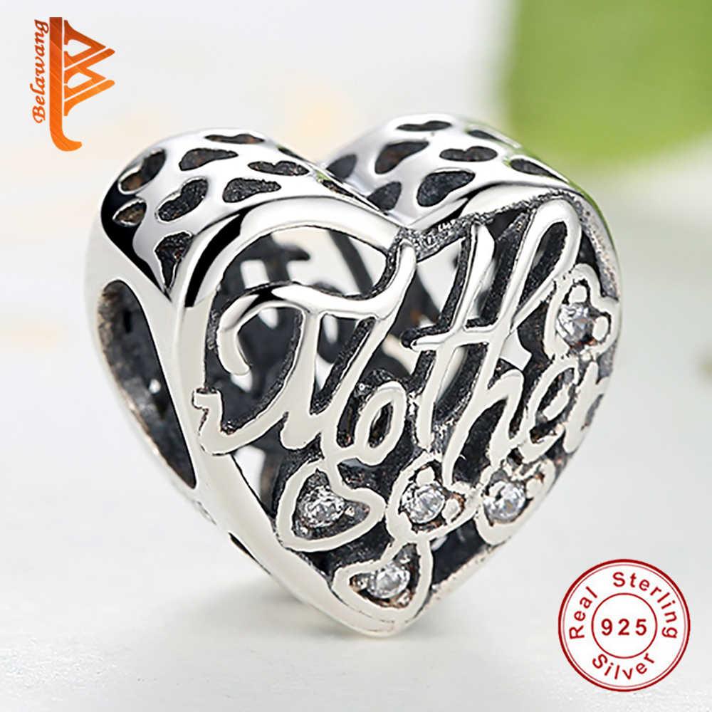 4d4347e1e ... BELAWANG 925 Sterling Silver MOTHER & SON Bond Heart Charms Fit  Original Charm Bracelet Authentic Jewelry ...