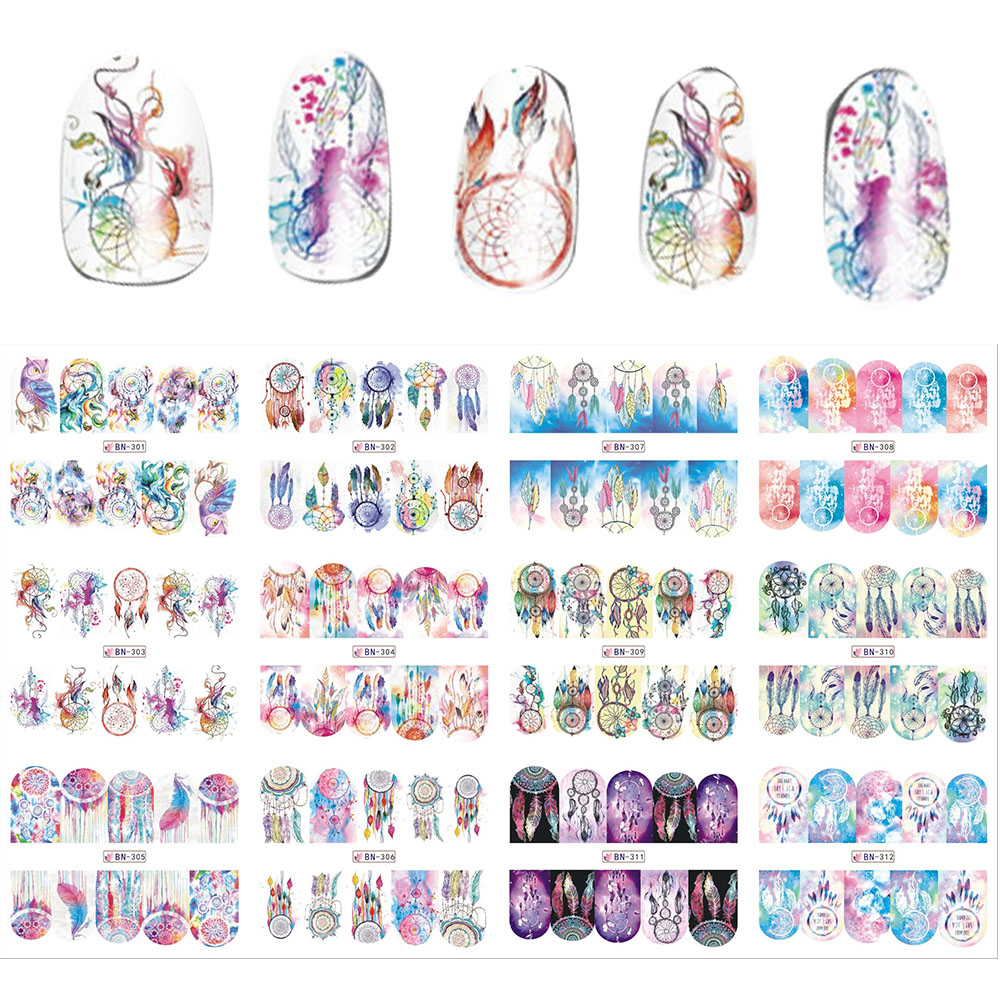New 12 Sheets/Lot  Mix Owl Dream Catcher Nail Art Water Transfer Decal Sticker For Nail Art Tattoo SABN301-312 4 packs lot full cover white french smile lace tattoos sticker water decal nail art d363 366w