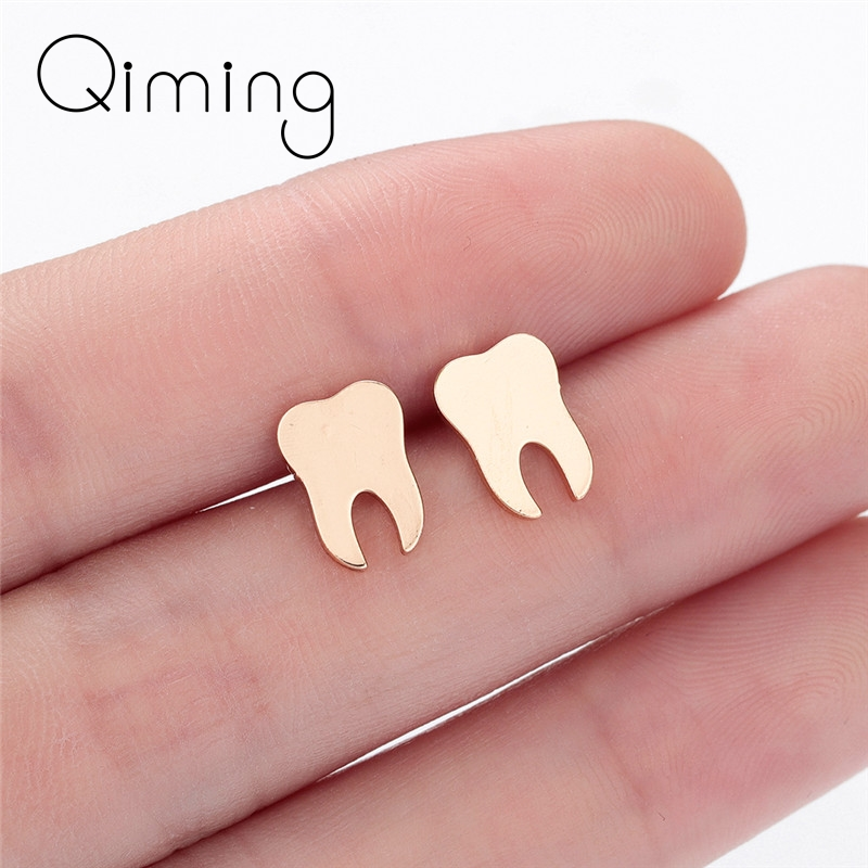 Dentist Tooth Stud Earrings for Women Men Doctor Nurse Minimalist Jewelry Small Earrings Medical Graduation Gift