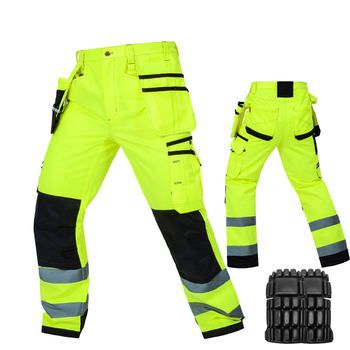 Bauskydd durable workwear pants men multi-pocket heavy duty reflective work trousers with knee pads