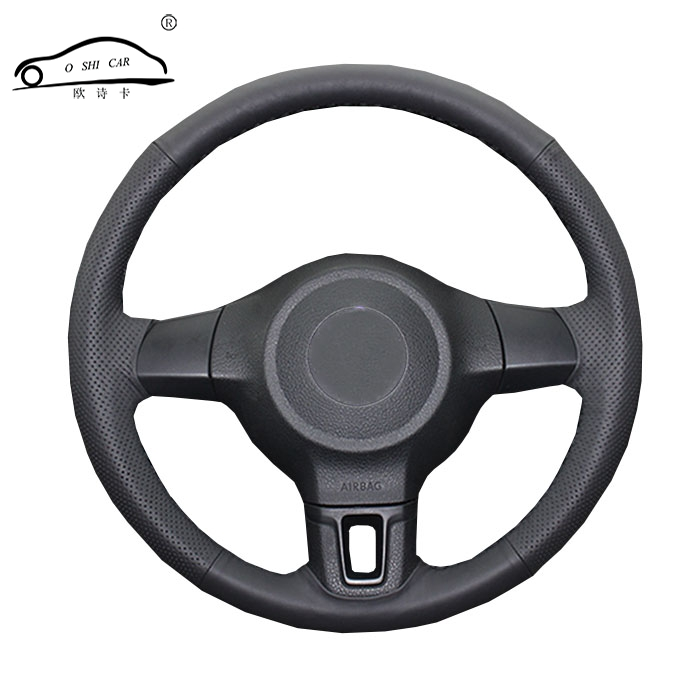 Car Steering wheel braid for Volkswagen Golf 6 Mk6 VW Polo MK5 2010-2013/Custom made auto iber leather steering wheel cover image