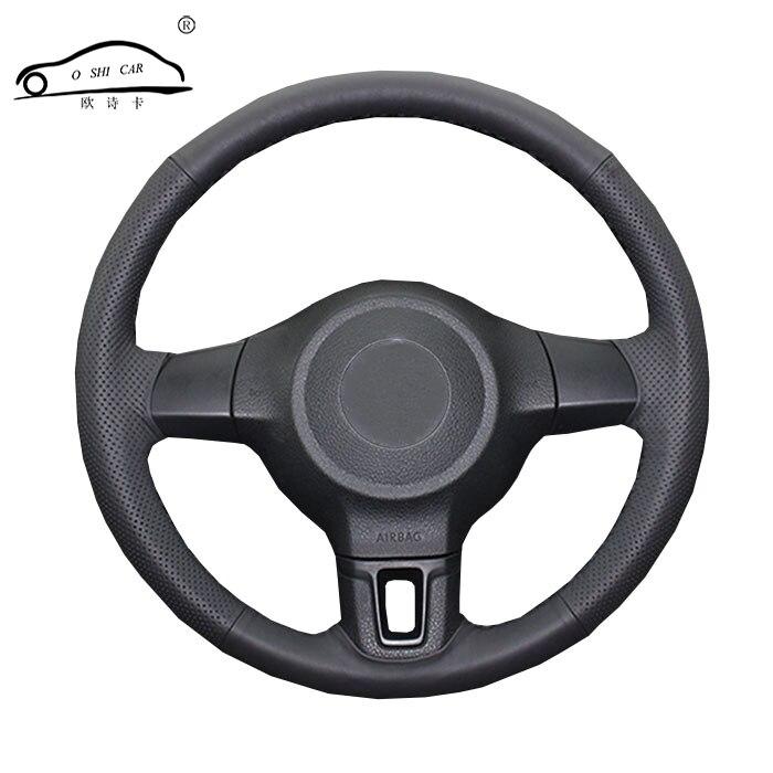Car Steering Wheel Braid For Volkswagen Golf 6 Mk6 VW Polo MK5 2010-2013/Custom Made Auto  Iber Leather Steering Wheel Cover