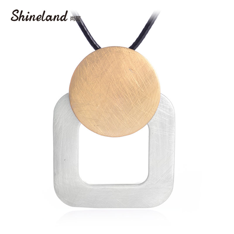 2018 Punk Black PU Leather Handmade Wire Drawing Round Square Long Necklace Pendant for Women Unisex Statement Bijoux