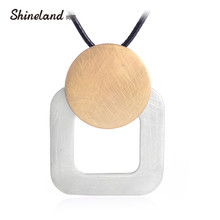 Shineland 2018 Punk Black PU Leather Handmade Wire Drawing Round Square Long Necklace Pendant for Women Unisex Statement Bijoux