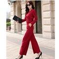 2017 Novo e Elegante 2 Peça Set Mulheres Cozy Terninhos Escritório Kit Suit Plus Size M ao XXL Vermelho Preto Macacões
