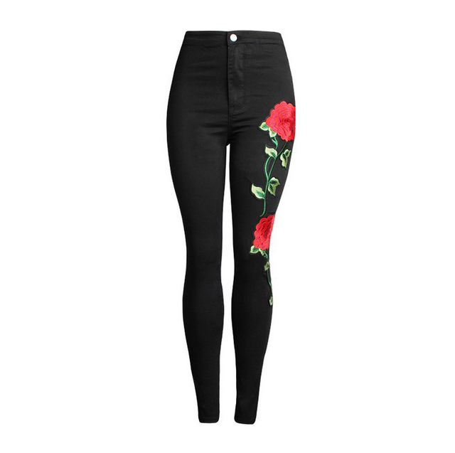Women's Vintage Embroider Flowers High Waist Skinny Jeans